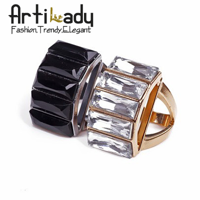 Artilady Autumn& winter collection black crystal ring for women 2014 fashion jewelry