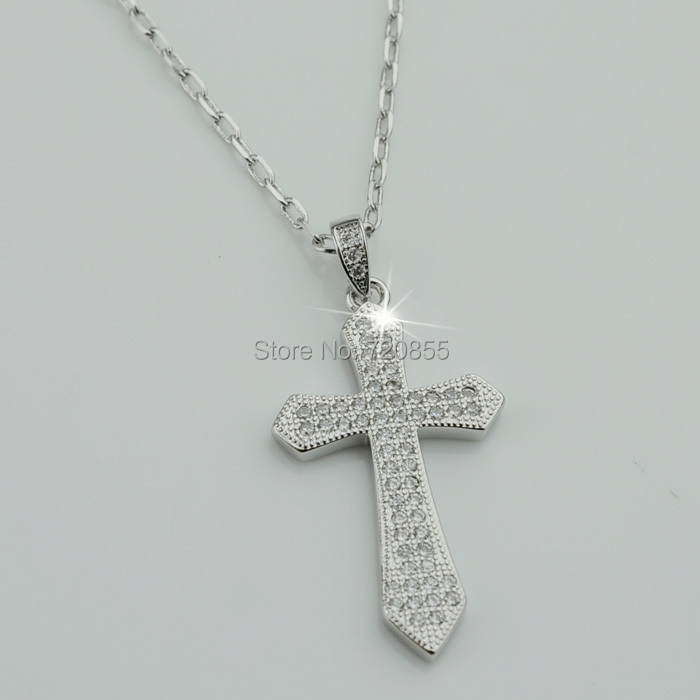 100% High Quality Zircon Cross Pendant Necklaces Silver Plated Micro-inserts CZ Jewelry Women,Crucifix Christian Christianity(China (Mainland))