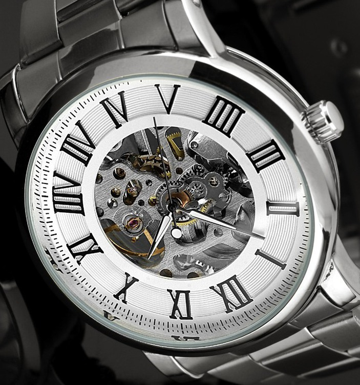 Skeleton watches for men full steel watch Mechanical Watch Hand Wind analog round wristwatches(China (Mainland))