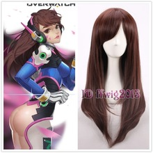 Free Shipping Overwatch OW D.va Cosplay wig 60cm long straight dark brown wig +a wig cap(China (Mainland))