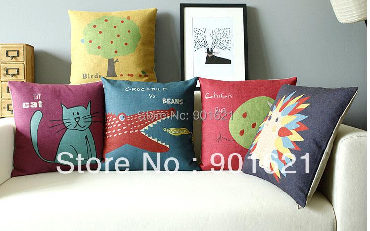 Free shipping cute animal cat crocodile bean hedgehog chick run birds in tree pattern linen Cushion Cover throw pillow Case(China (Mainland))