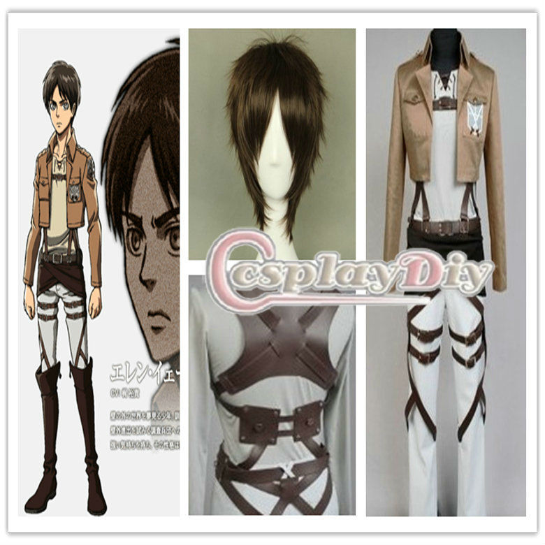Custom Made Shingeki No Kyojin Attack on Titan Eren Jaeger Costume Anime Halloween Cosplay Costume