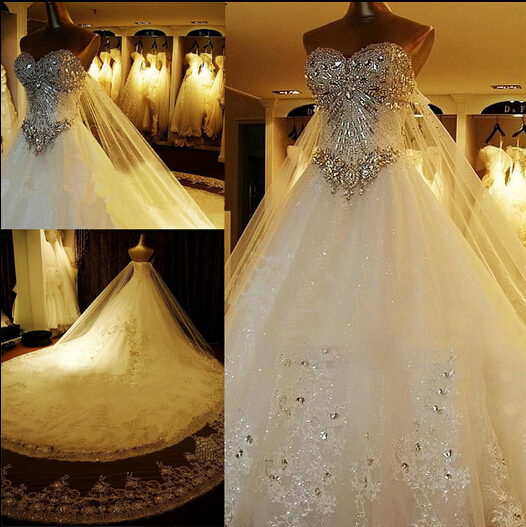 Buy latest style cathedral train corset for Diamond sweetheart wedding dress