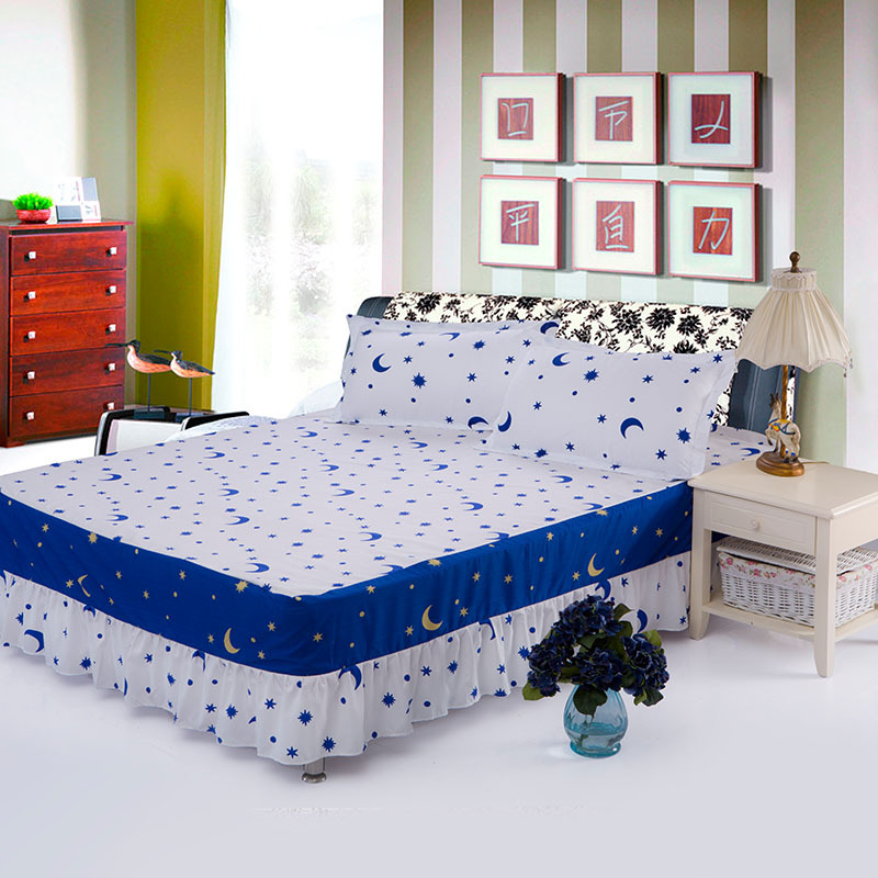 Home textile single bed skirt spreads set fitted sheet How to put a fitted sheet on a bed