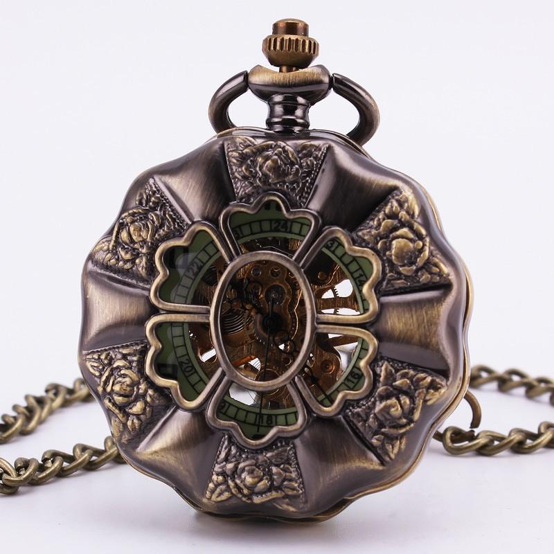 Барокко старинные ретро античные готический выросли выдолбите бронзовый механические карманные часы свитер цепи ожерелье часы девушки TD103