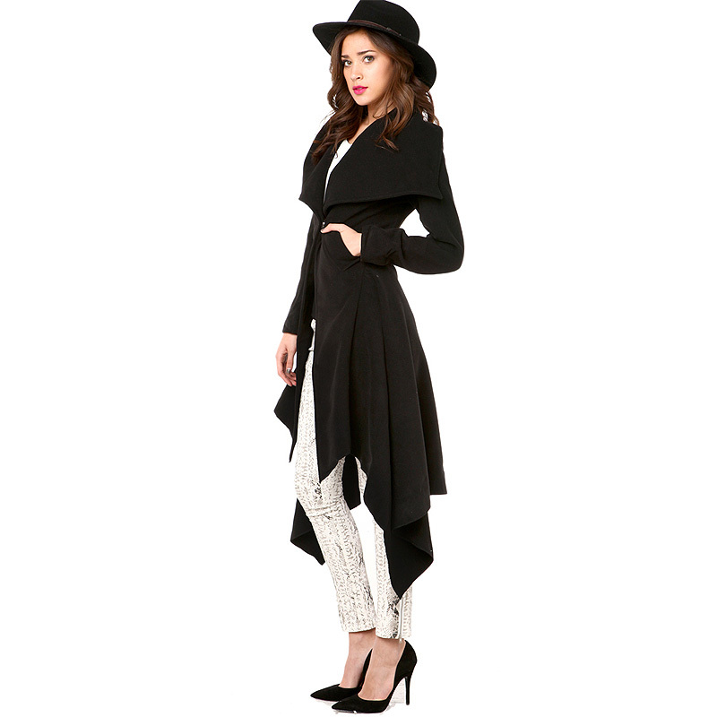 European Style Women Fashion Hot Sale Hem Dovetail Lapel