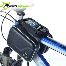RockBros Cycling Accessories Parts PU Leather Front Frame Tube Bag Mtb Bike Panniers Bicycle Touchscreen Cell Mobile Phone Bags