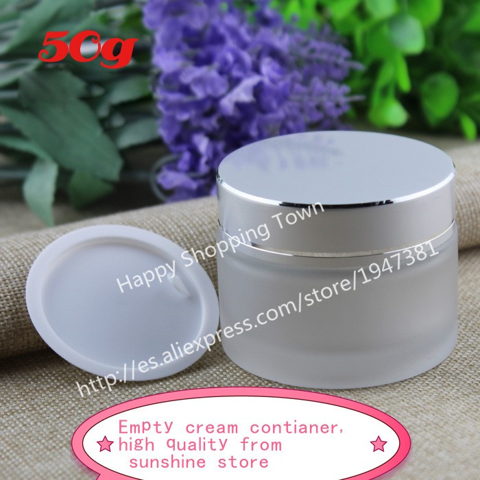 DHL free shipping 100pcs 50g frosted glass jars, 50ml frost cream jars, skin care cream bottles, 1.7 fl oz cosmetic containers(China (Mainland))
