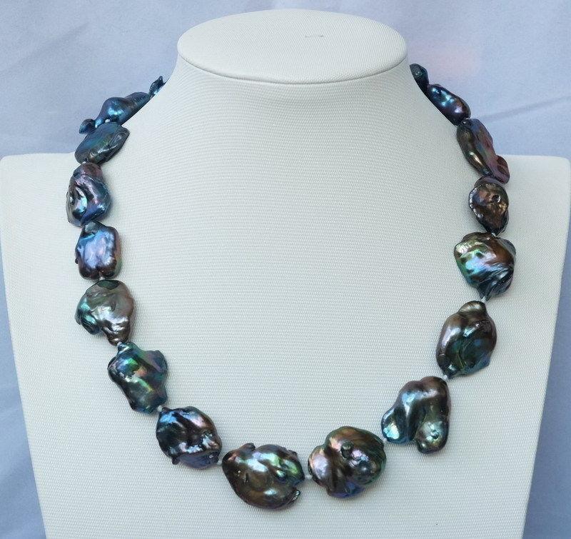 Free shipping!!!20X26mm Black baroque Keshi pearl necklace(China (Mainland))