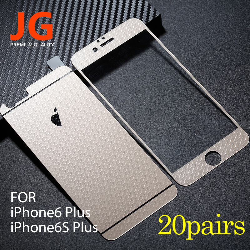 JG 20 pairs lot Front Back Tempered Glass Color Film 6plus Full Cover font b Screen