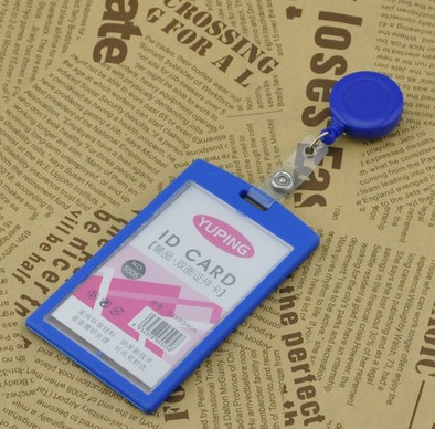 Hot Sale 1pcs Blue Color Retractable Pull Badge Reel With Vertical ID Name Tag Card Badge Holder(China (Mainland))