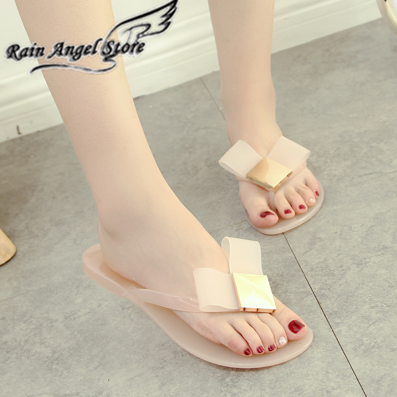flat bow crystal sandals for woman 2016 summer jelly shoes female transparent flip flops sandals(China (Mainland))