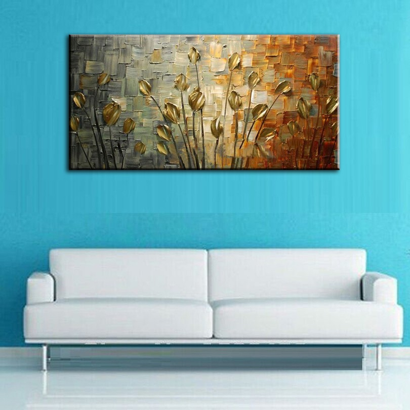 Buy hand painted oil painting Home decoration high quality canvas flower knife painting pictures cheap