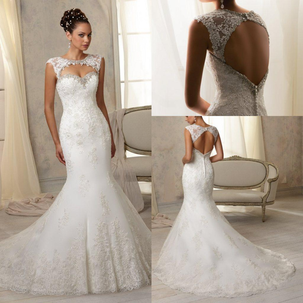 Mermaid vintage detachable skirt wedding dress with for Detachable train wedding dress
