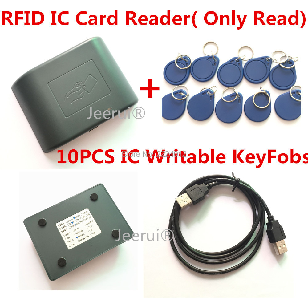 13.56MHZ USB #JR-202 RFID Smart IC Card Reader ( Only Read) 8H10D-1 Format Plug and Play No driver+ 10 PCS S50 Chip Key Fobs(China (Mainland))