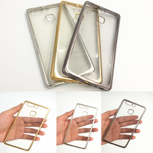 Ultra thin back clear transparent Gold armor soft tpu case cover huawei P9 / lite P8 mini funda cases - Phone_cover Co.,Ltd store
