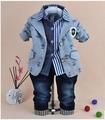 0 5Y baby boy gentlemen clothing set 3pcs boys clothing kids jeans suit set children clothing