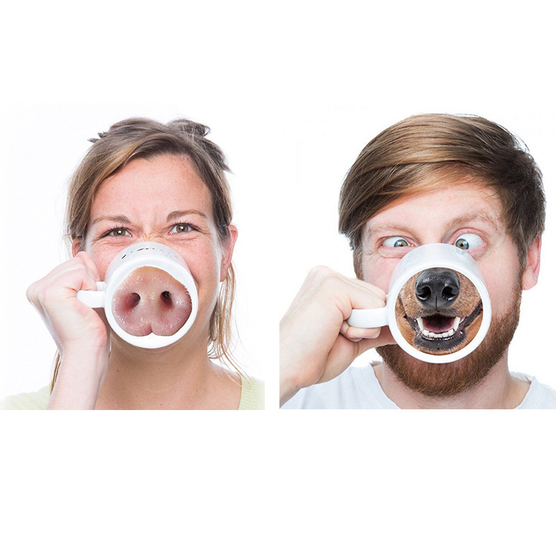 New Creative Pig Dog Nose Mug Bottom Water Coffee Milk Cup Ceramic Nose Piggy Doggy Funny Tea Drinking Kettle Home Office Mugs(China (Mainland))