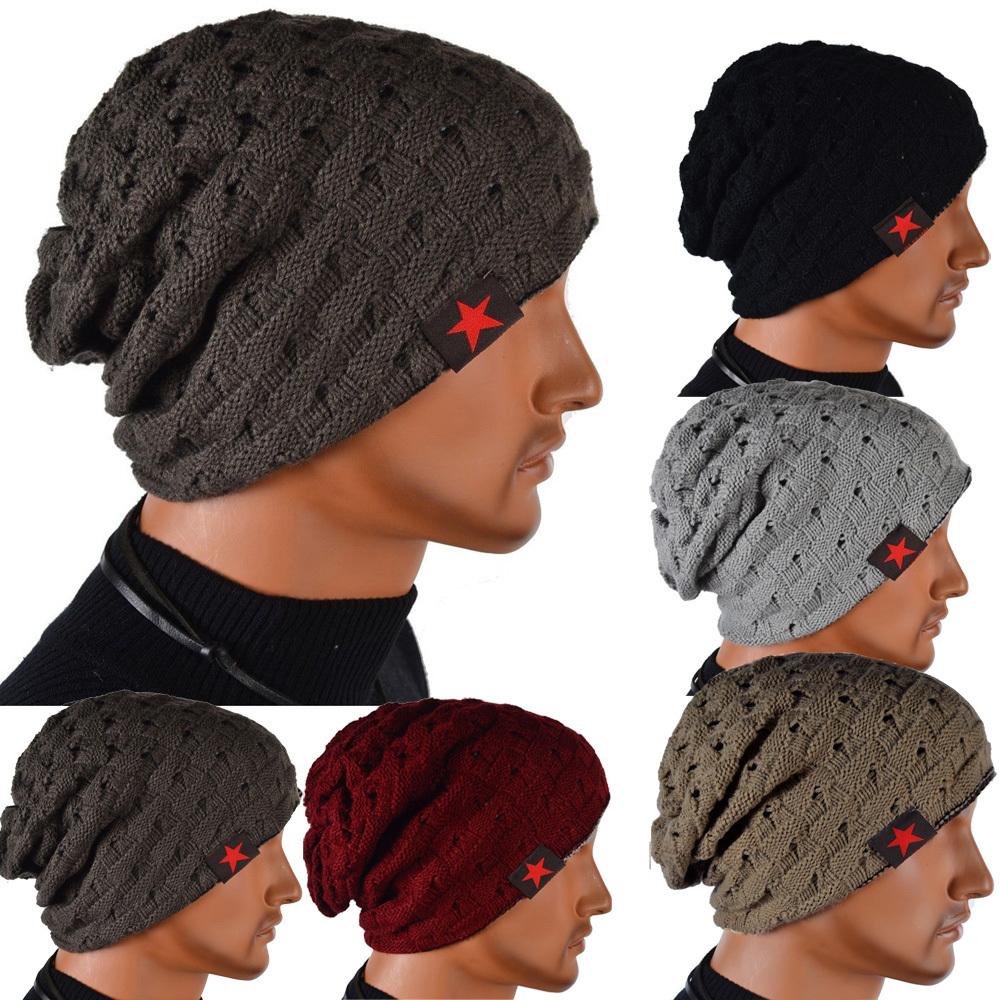 Men's Knit Winter Hat Beanie Reversible Skull Chunky Baggy Warm Cap Free Shipping(China (Mainland))