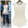 Free shipping 2014 summer fashion short sleeve lace shirt basic shirt doll chiffon shirt top sleeveless
