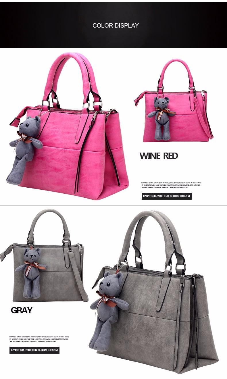 Nubuck Leather Retro Hand Bag Korean Style Stylish Patchwork Women PU Handbag Luxury Designer Lady Double Layered Shoulder Bag
