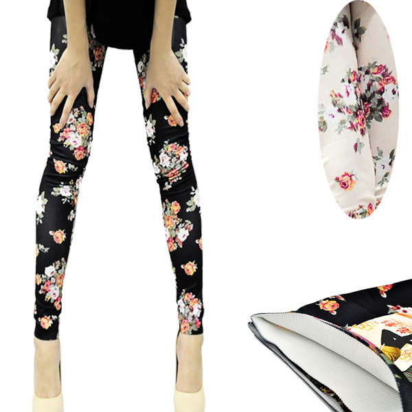 Fashion Womens Lady Slim Sexy Cotton Floral Print Leggings Pants(China (Mainland))