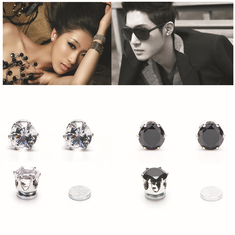 Unisex Men Women Magnet Stud Earrings Crystal Stone Round Earrings Vintage Earing Fashion Jewelry For Women 2015(China (Mainland))