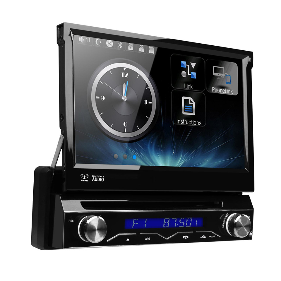 "7"" Motorized Detachable Single 1 Din Car DVD GPS Touch Screen Mirroring Multi Color Button Multimedia Bluetooth RDS Radio Stereo(China (Mainland))"