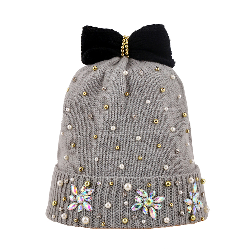 2015 winter beanie hats for women gray bead bowknot knitting hat lovely girl hot sale simple fashion cap [HUL106g3900](China (Mainland))