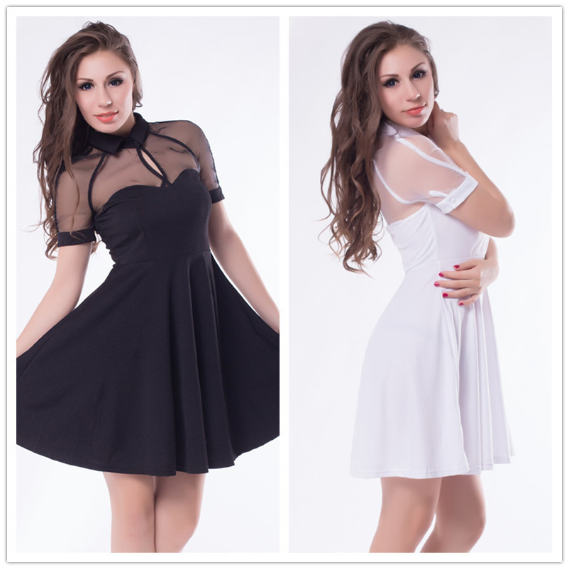 Newest fashion most beautiful ladies dress 2015 hot sale peter and collar neck womens dress free shipping solid cute dress R7875(China (Mainland))