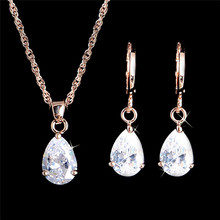 New Arrival Fashion Jewelry Sets Gold Filled Jewelry Set Zircon Crystal Waterdrop Pendant Necklace Earrings Set For Women(China (Mainland))