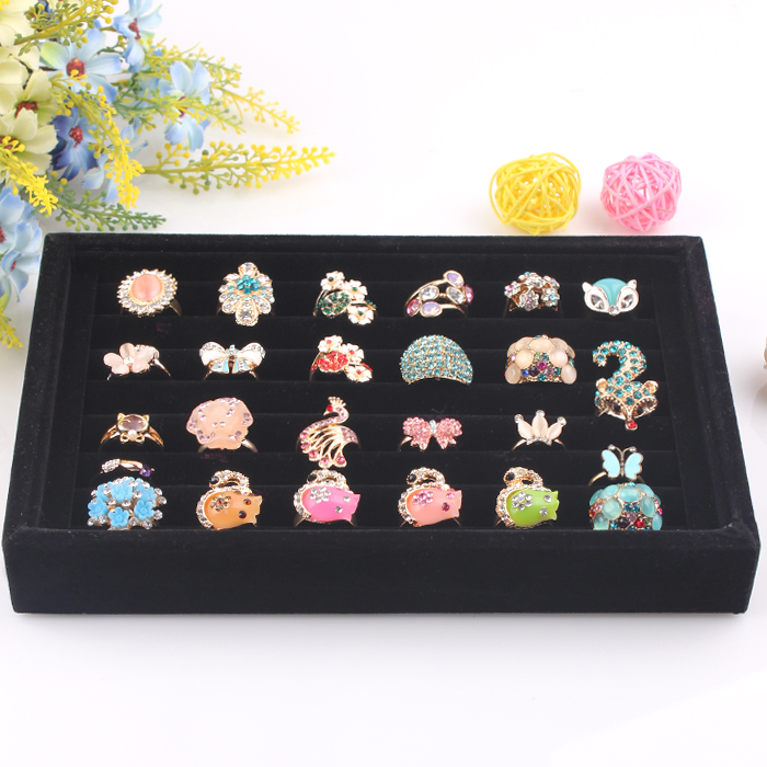 A02-1  Jewelry Display Rings Organizer Show Case Holder Box New Black 100 Slots Ring Storage Ear Pin Display Box  8 PIECES/ LOT<br><br>Aliexpress