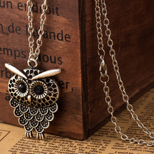 Vintage Women Owl Pendant Neclace Long Sweater Chain Jewelry Golden Antique Silver Bronze Charm fashion free