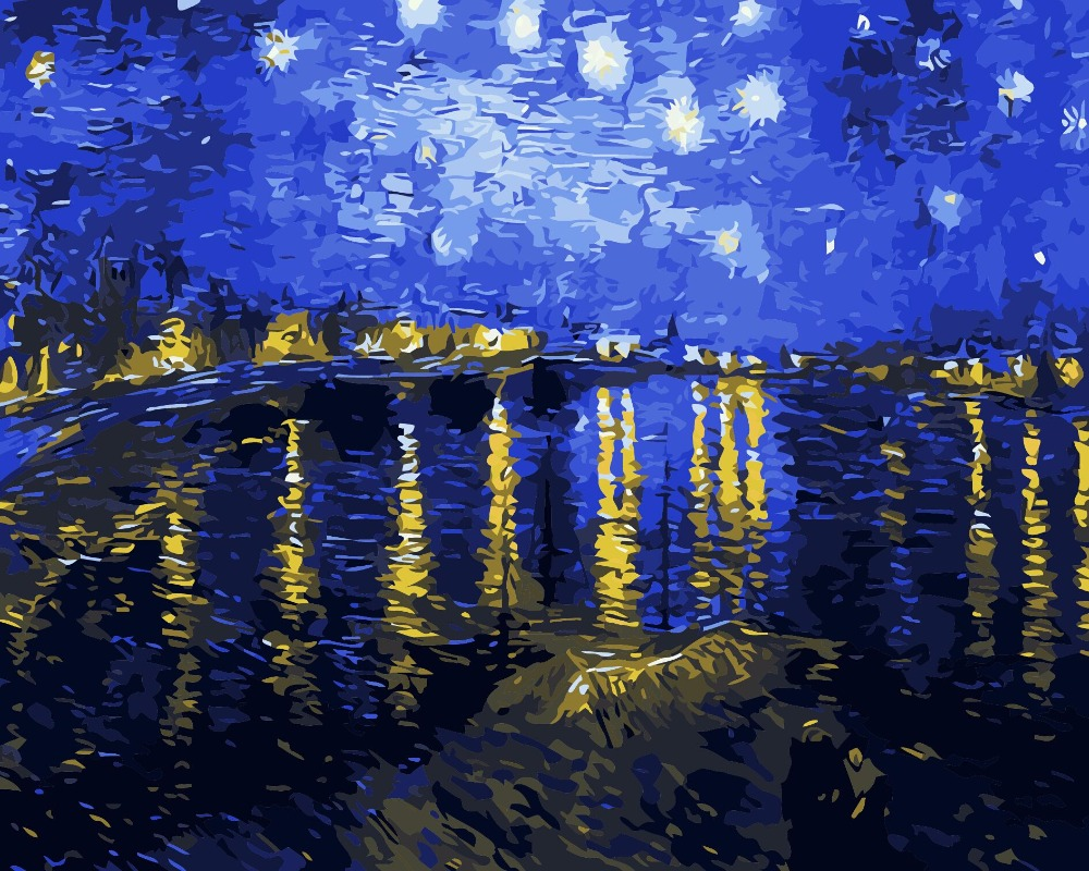 The Rhone Of Under The Stars Pictures Painting By Numbers DIY Digital Oil Painting On Canvas Home Decor Wall Art Abstract E165(China (Mainland))