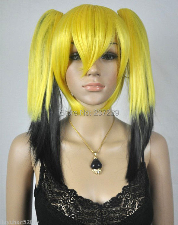 Wholesale price FREE p&amp;P*****Medium Yellow Mix Black Straight Pigtail Ponytail Womens Ladys Hair Wig <br><br>Aliexpress