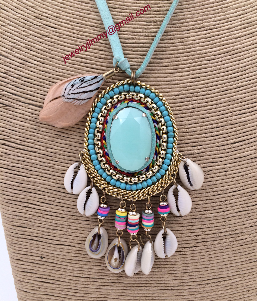 2015New personalized handmade jewelry supplier Turquoise pendant beaded chain boho long Necklaces for women(China (Mainland))