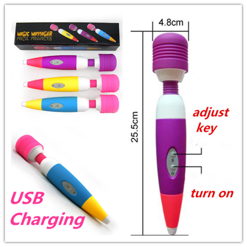 Usb Charge Powerful Body Massage Deeply Relaxing Magic Massager female masturbation vibrator AV stick Sex Product toys for women(China (Mainland))