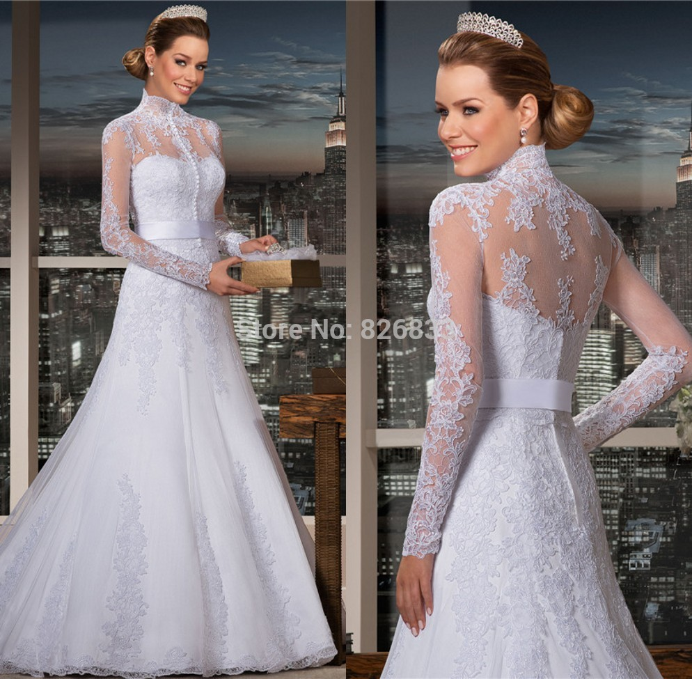 2015 high neck wedding dresses long sleeves lace trumpet for Plus size wedding dresses with color and sleeves