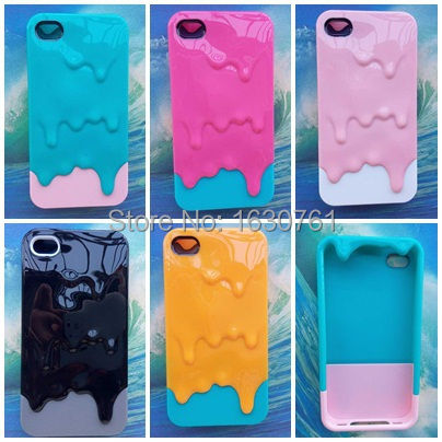 For iphone 4 4S Hot Design High Quality Melted Ice Cream Protector Cell Phone Cover Case Skin Free Shipping(China (Mainland))