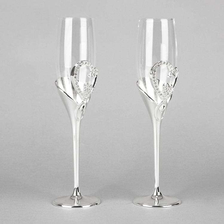 New arrival 2015 hot sale fashion 26cm tall wedding champagne glass goblet toast flute silver martini glass party wine glass(China (Mainland))