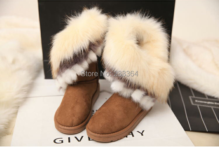 2015 Newly list High Quality Fashion Rubber soles Warm Long Artificial Fox Snow Boots Cheap Ladies Boots(China (Mainland))