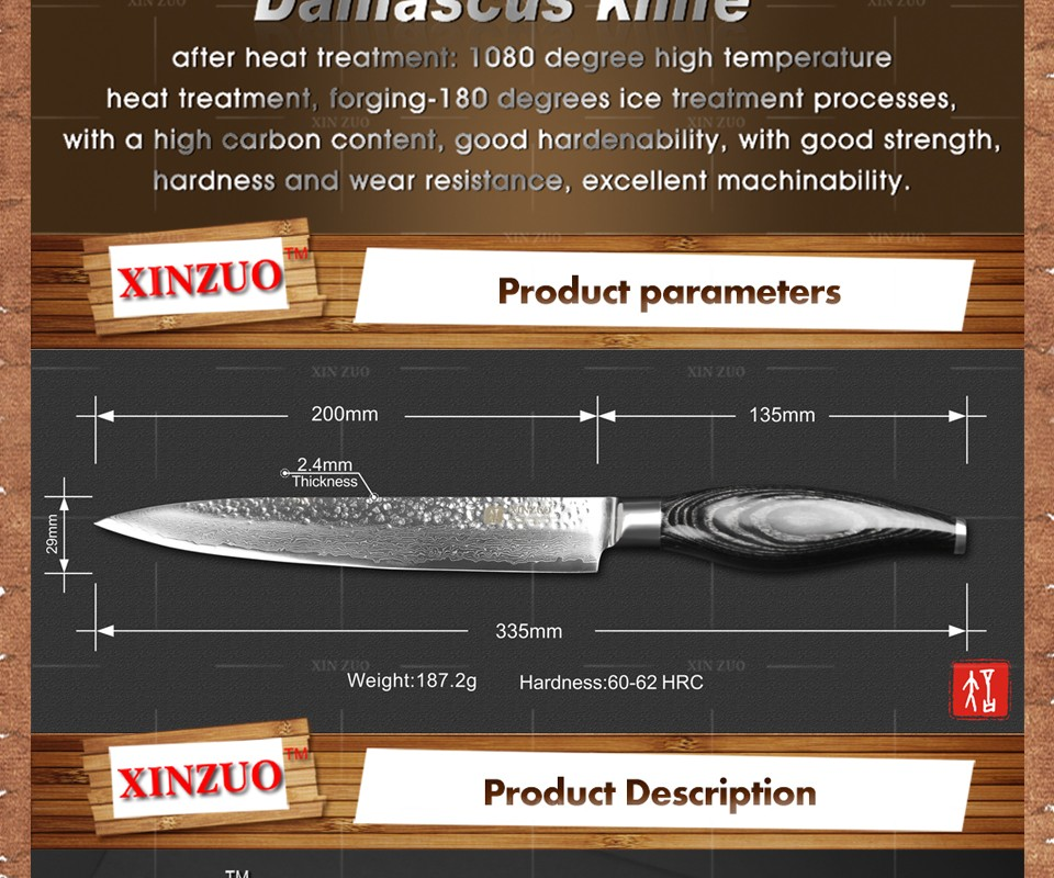 Buy 2016 NEW XINZUO 8 inch cleaver knife woman chef knife Sharp Japanese Damascus kitchen knife with Color wood handle free shipping cheap
