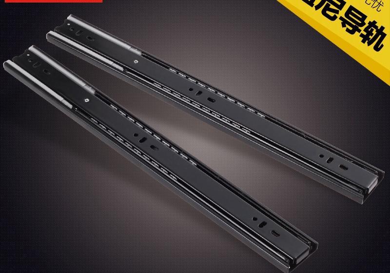 Black mute drawer track three rail drawer slide drawer slide rails wardrobe with five