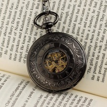 PACIFISTOR Pocket Watches Steampunk Wind Up Vintage Pocket Watch for Men Relojes 2015 Gift Mechanical Skeleton