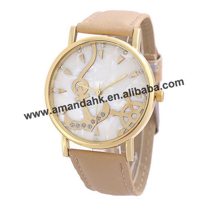 2015 Fashion Women's Ladies Wrist Watch Gold Anchor Analog Alloy Leather Women Rhinstone Watch Wholesale Promotion Wristwatches(China (Mainland))