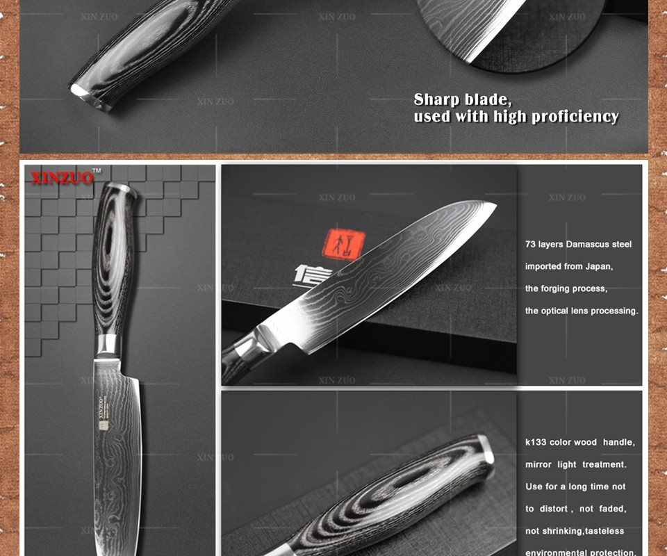 "Buy XINZUO 5"" Japanese VG10 Damascus chef knife kitchen knife santoku knife Japanese chef forged color wood handle FREE SHIIPPING cheap"