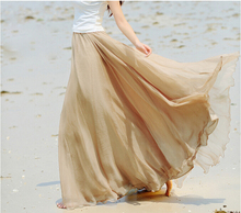 2016 Summer Beach Bohemia Long Chiffon Skirt Flared Hem Plus Size Chiffon Maxi Skirt with Elastic Waist Floor Length Silk Skirts