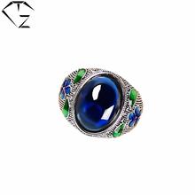 GZ 925 Серебряное Кольцо Синтетический Синий Сапфир Корунда anillos Обручальное S925 Тайские Серебряные Кольца для Женщин Агат(China (Mainland))