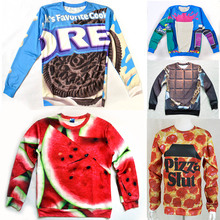 Eastdragon funny 3D food sweatshirt Pizza slut/watermelon/oreo cookie/chocolate bar/Strawberry printed novelty women men hoodie(China (Mainland))