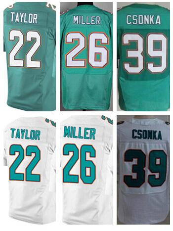 Top Stitched Miami jerseys,Cheap Men's #22 Jamar Taylor,26 Lamar Miller,39 Larry Csonka NEW Aqua green,white elite Jerseys(China (Mainland))